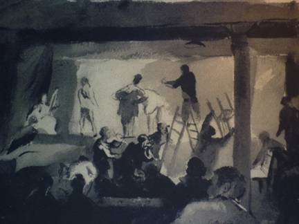 theater_rehearsal-pen-and-wash-drawing